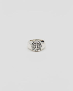 Signet Ring With Rosette Burst, Sterling