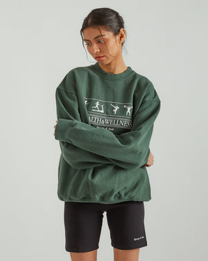 Health & Wellness Crewneck in Forest Green