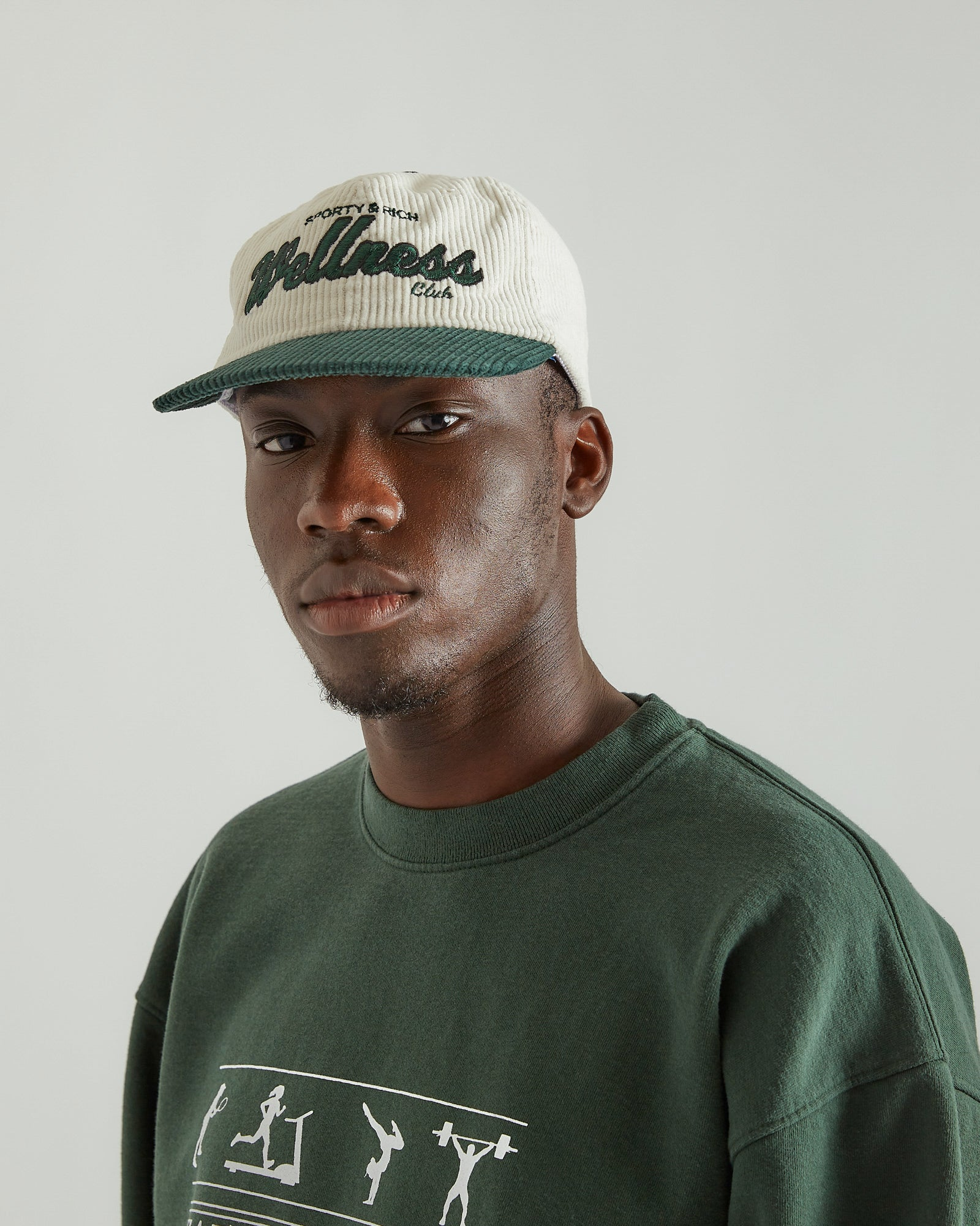 Wellness Club Hat in Corduroy White/Green