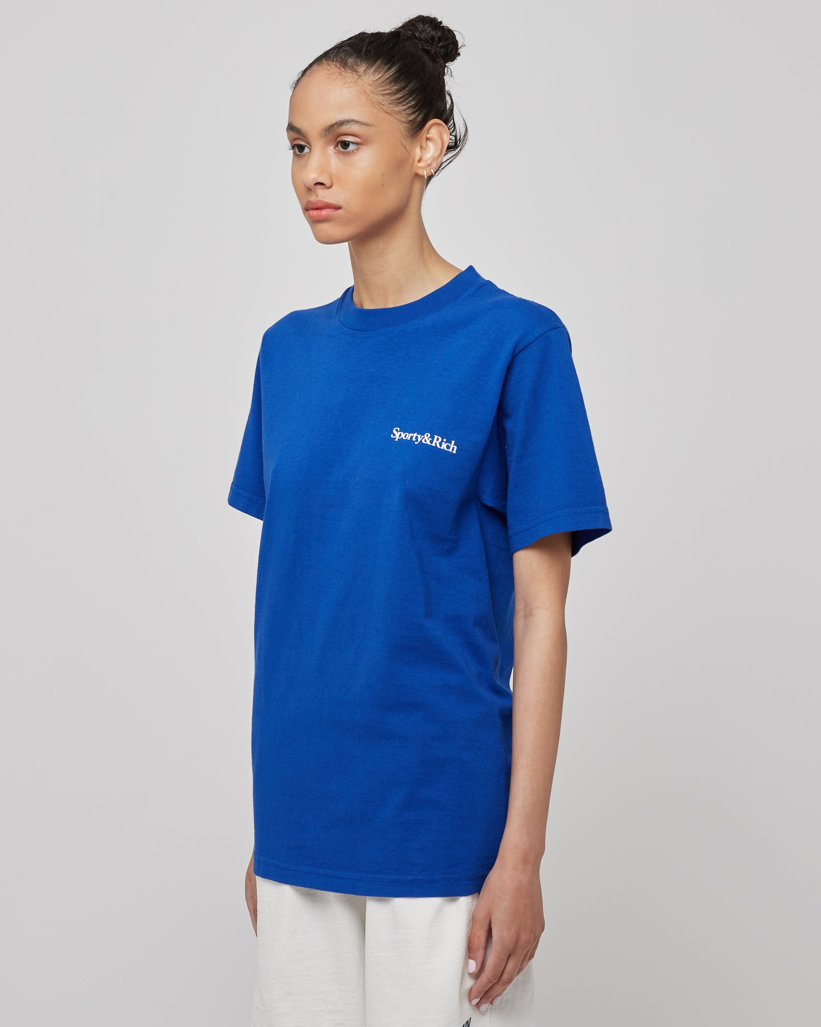 Health is Wealth T-Shirt in Lapis/White