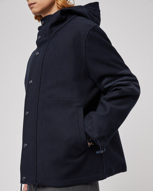 Hooded Snap Front Jacket in Tech Twill Navy