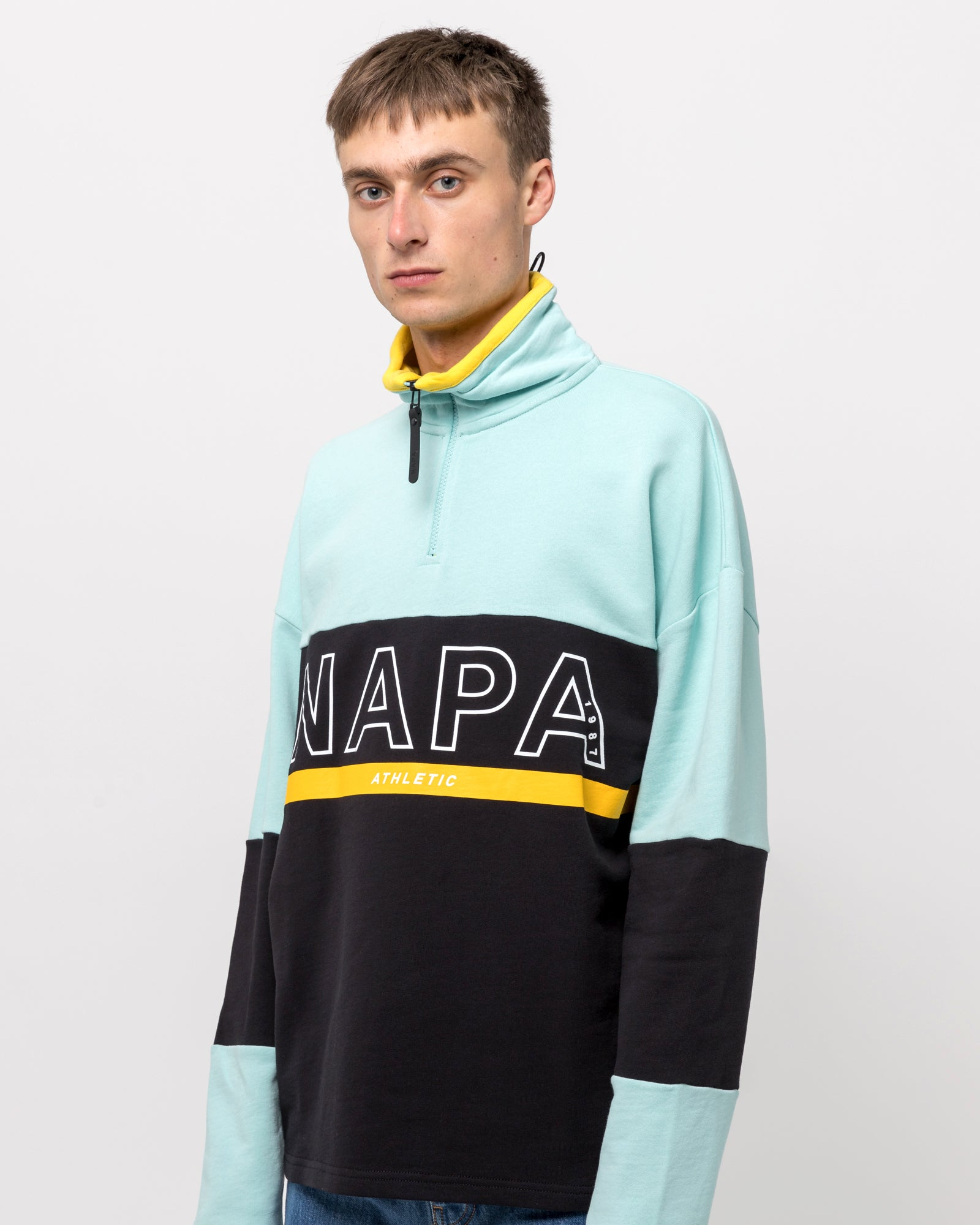 B-Anzere Zip Sweat in Light Blue & Black