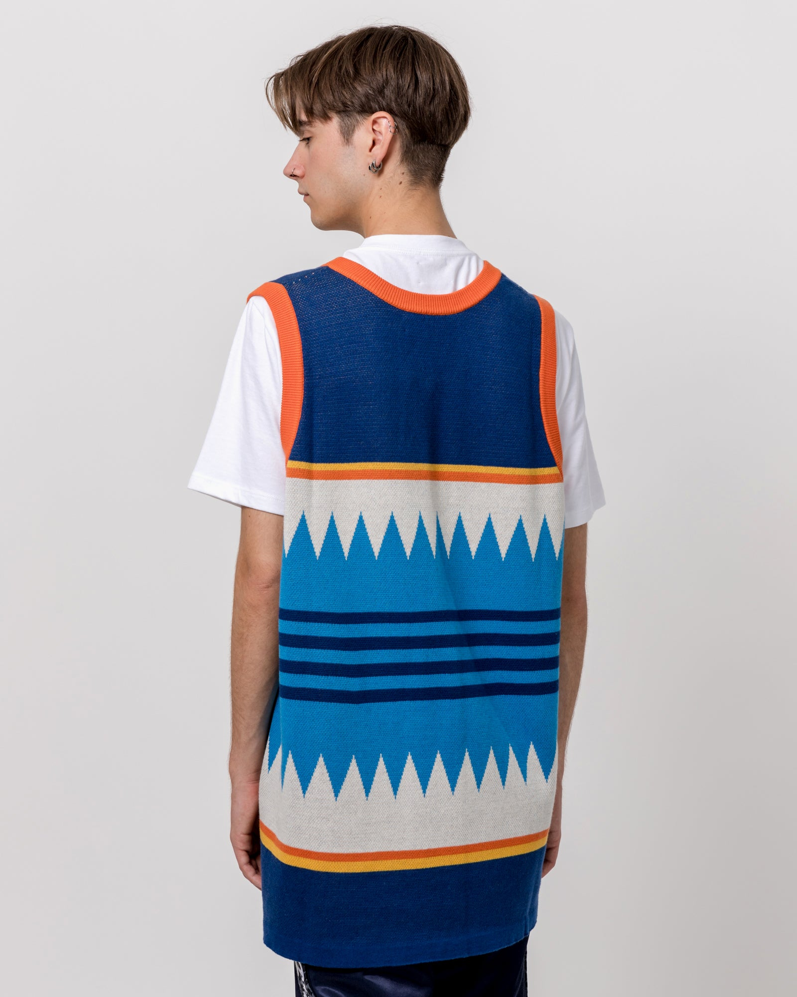 Basketball Tank Sweater in Blue
