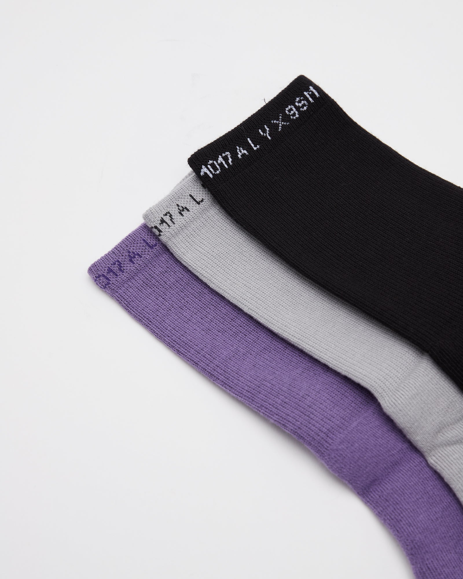 3 Pack of Socks in Black, Gray, Purple