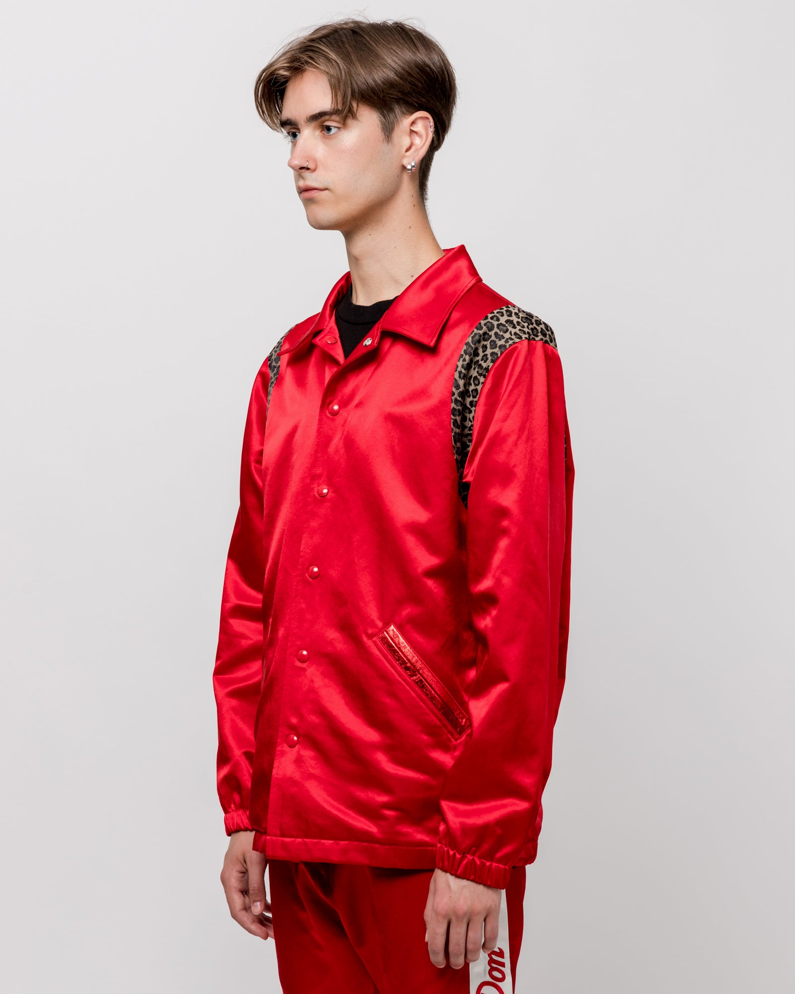 Reversible Varsity Coach Jacket in Red