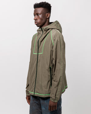 High Shrunk Full Zip in Olive & Neon Green