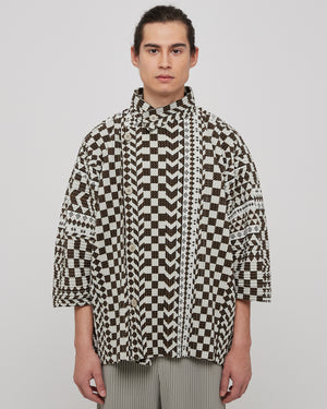 African Geometric Jacket in Brown