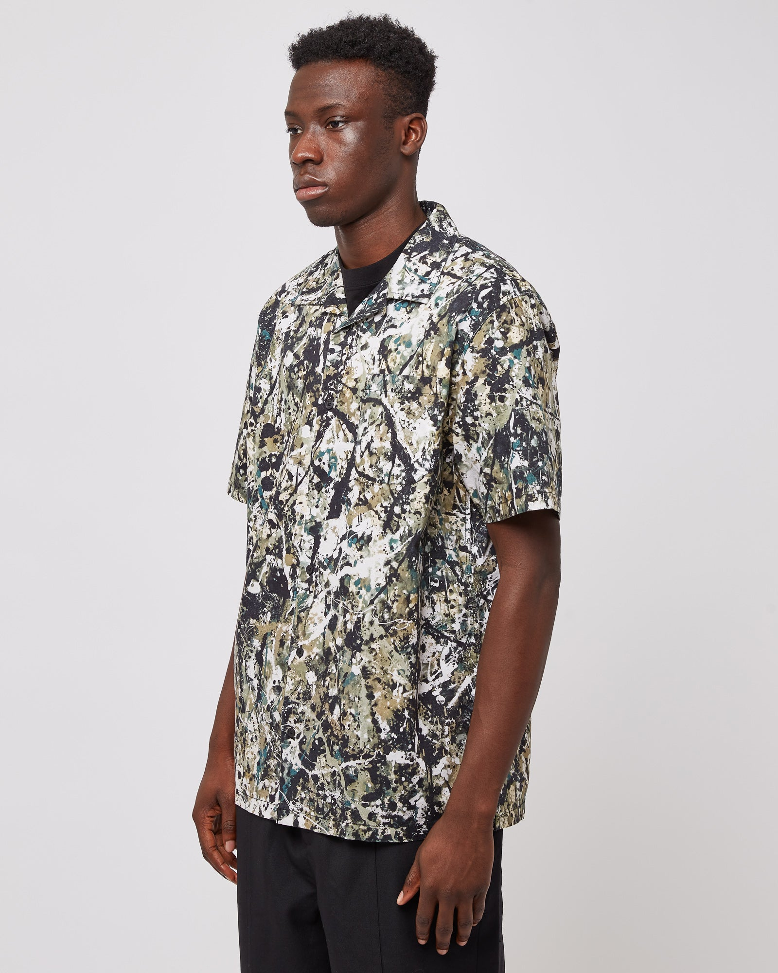 Jackson Pollock Camp Shirt in Green Multi