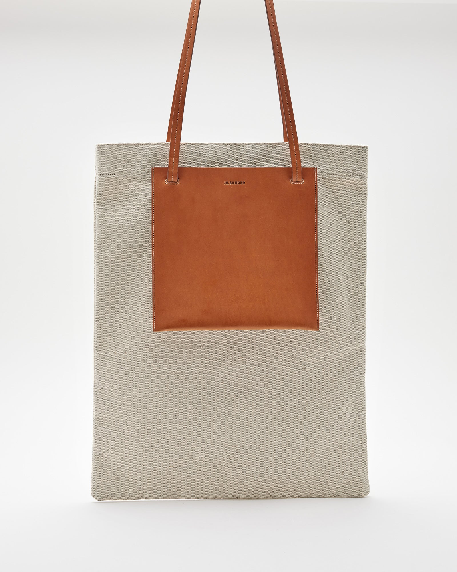 Pocket Flat Shopper Bag in Natural