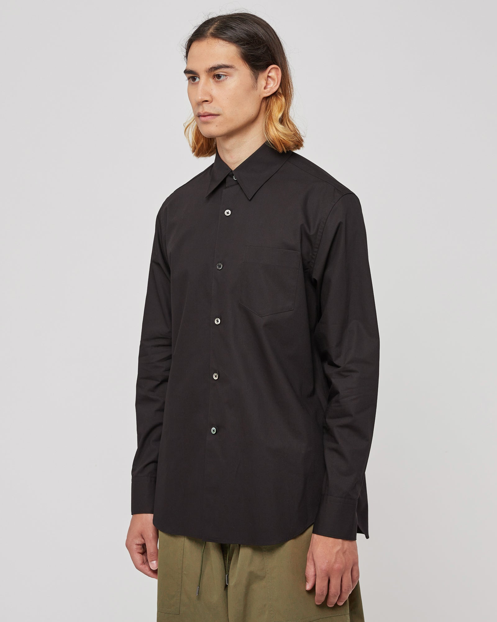 Knife Pleat Button Up Shirt in Black