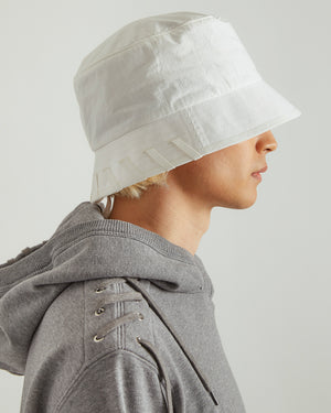 Laced Bucket Hat in White