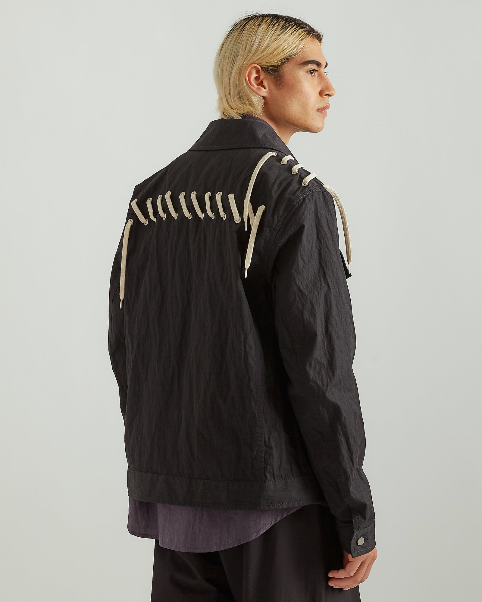 Laced Jacket in Black/Cream