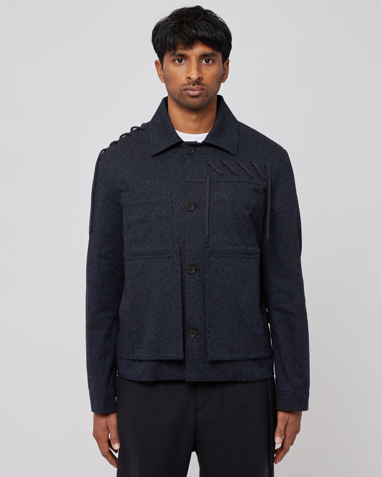 Laced Worker Jacket in Navy