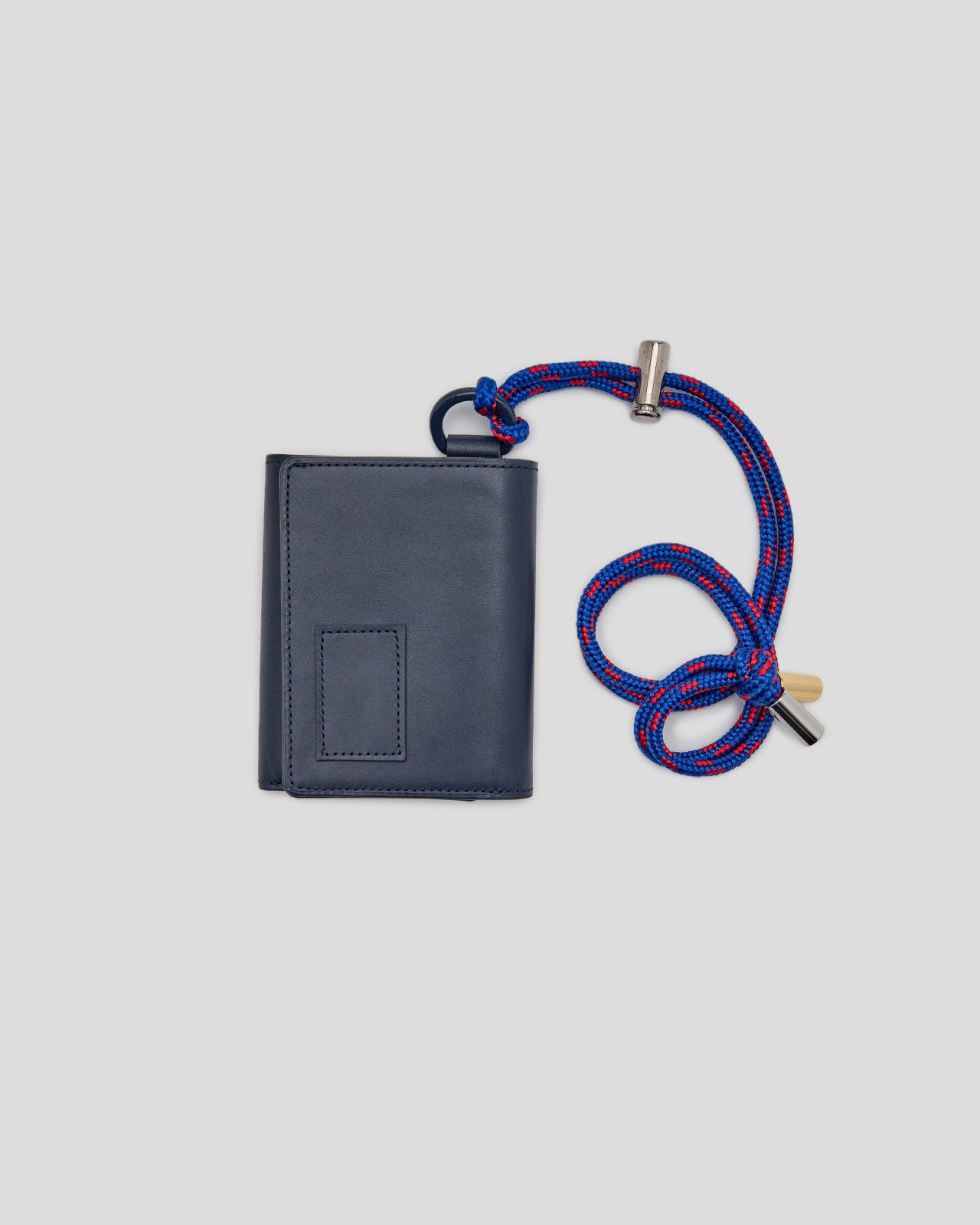Leather Trifold Wallet in Navy