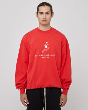 Live Longer Crewneck in Sport Red/White