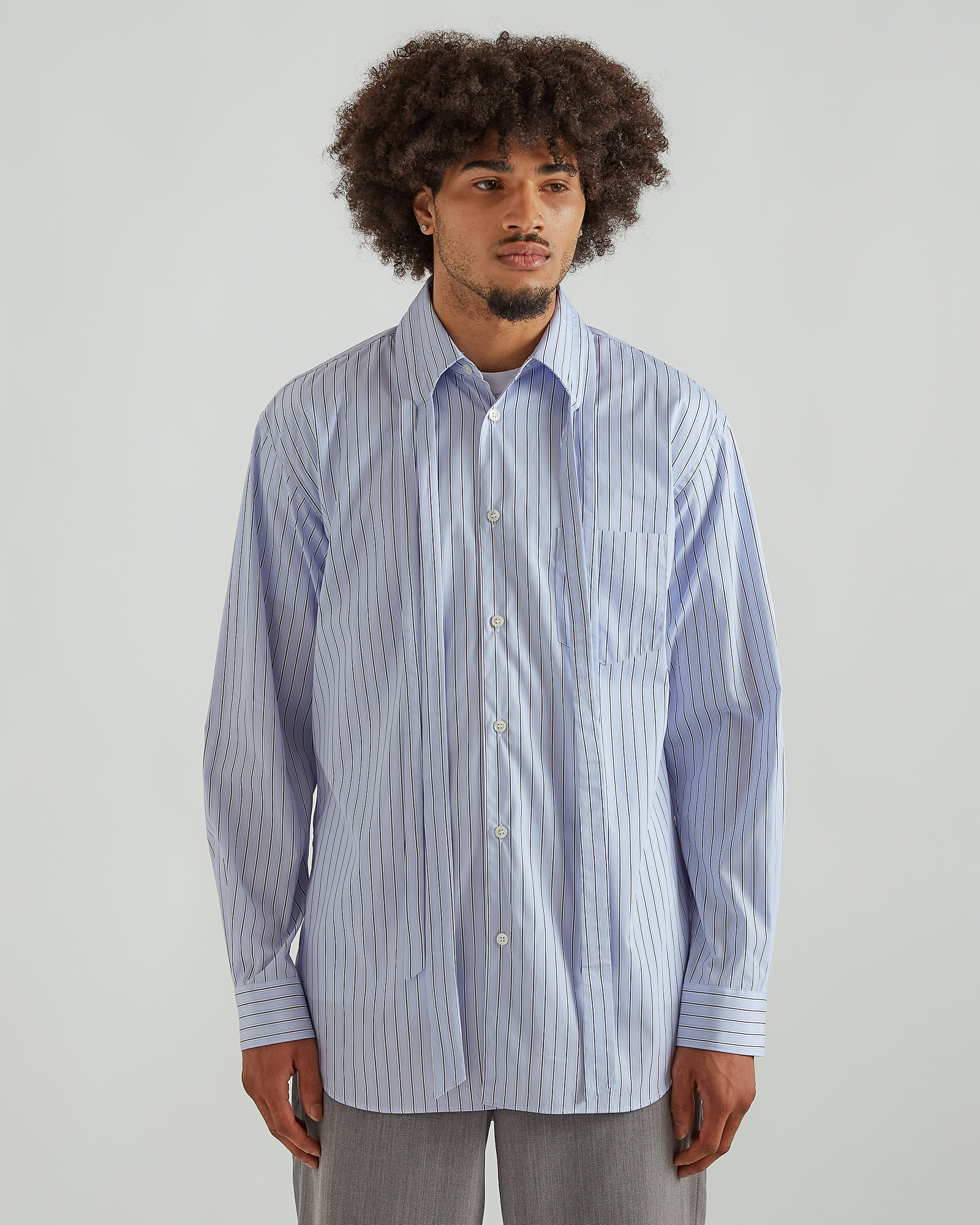 Long Split Collar Shirt in Light Blue Stripe