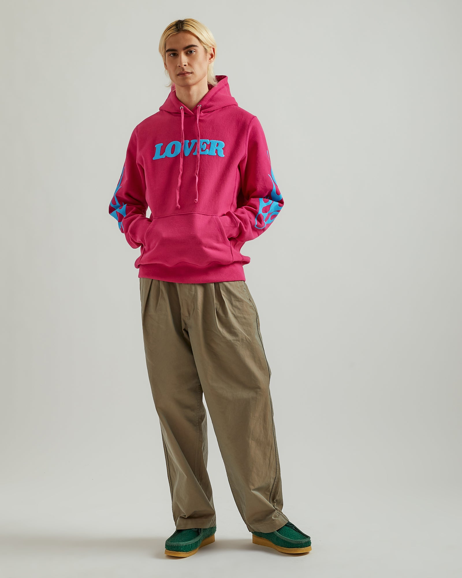 Lover Pullover Hoodie in Fuchsia with Aqua Print