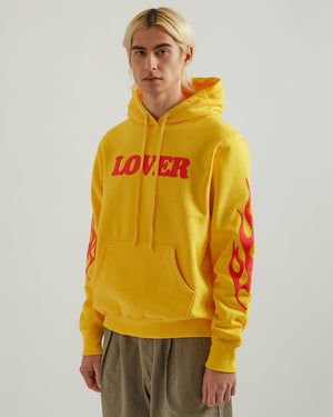 Lover Pullover Hoodie in Yellow with Red Print