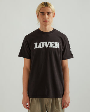 Lover T-Shirt in Black with White Print