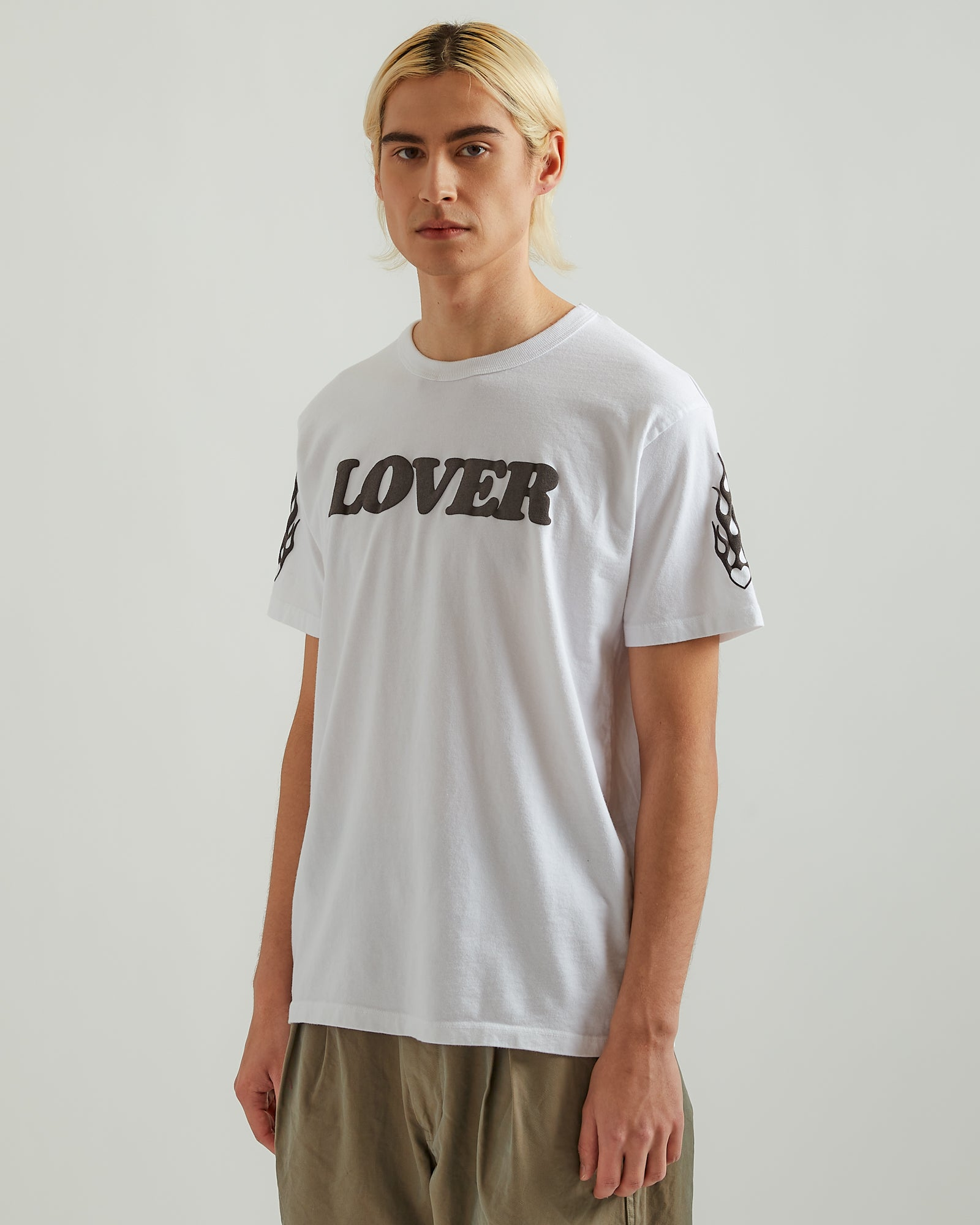 Lover T-Shirt in White with Black Print