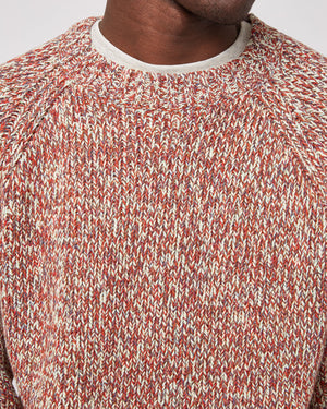 Marled Raglan Sweater in Red Multi