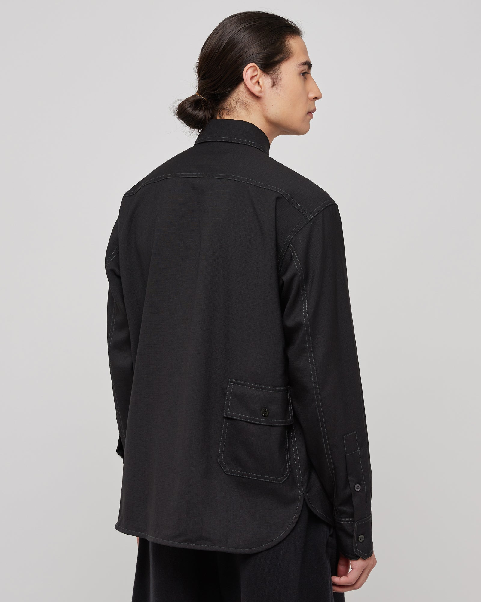 Button Down Overshirt in Black