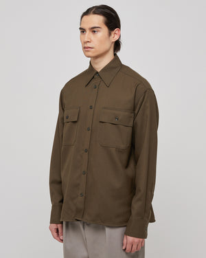 Button Down Overshirt in Mid Brown
