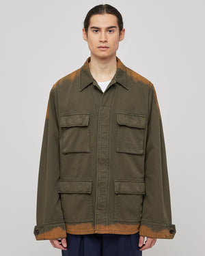 Overdye Bleach Jacket in Green