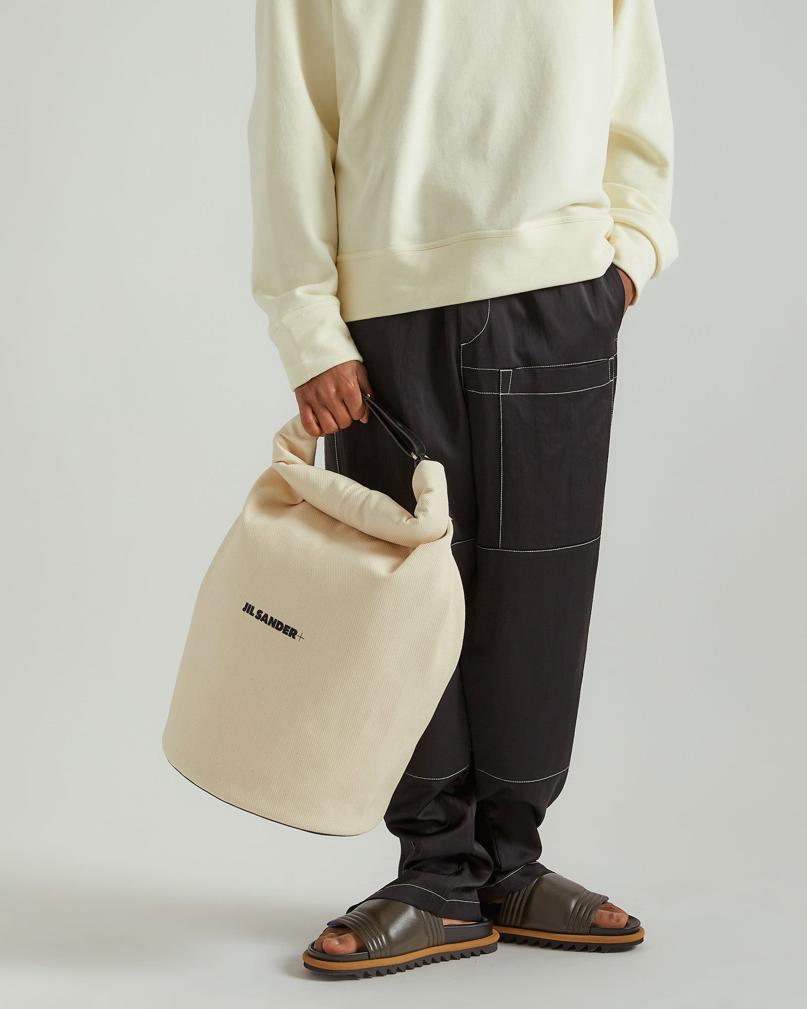 Medium Roll Duffle Bag in Light Beige