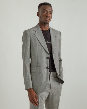 Micro Check Suit in White/Black
