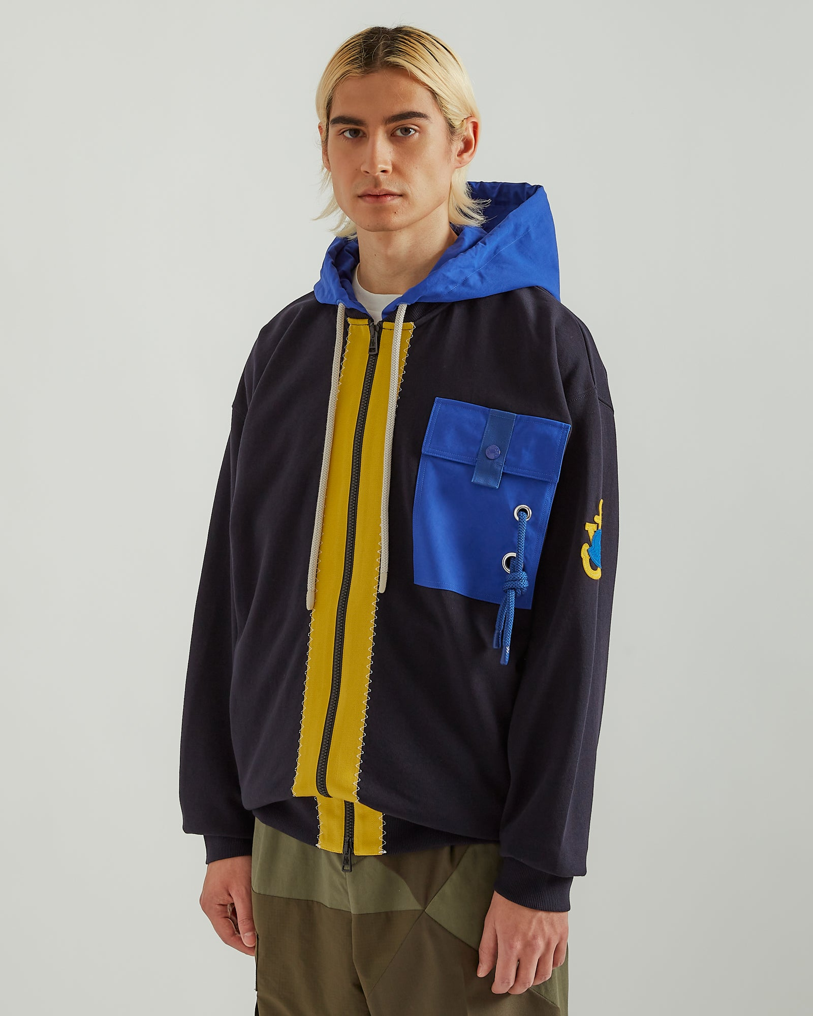 1Moncler JW Anderson Zip Up Hoodie in Navy