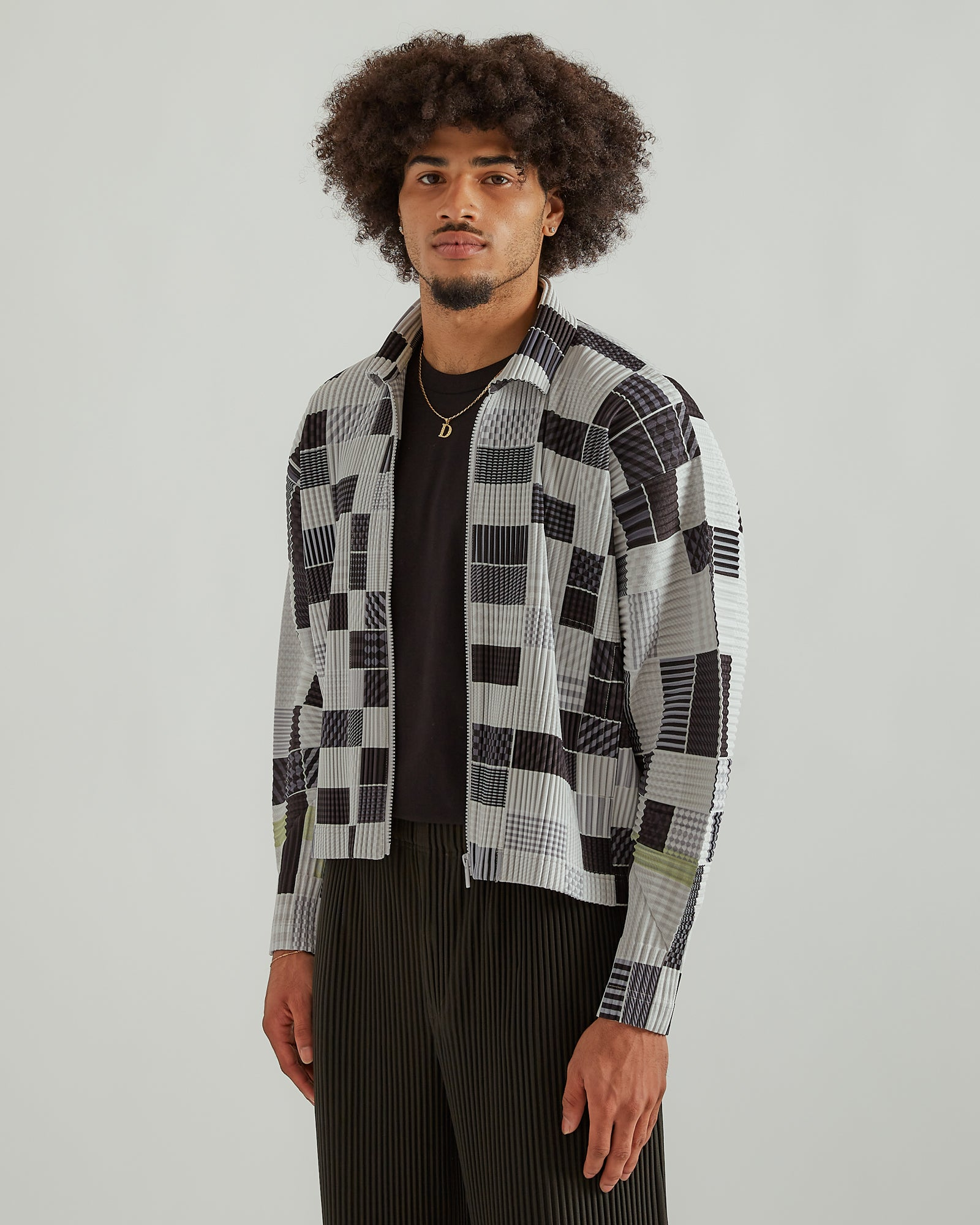 Multi Check Blouson in Gray Mix
