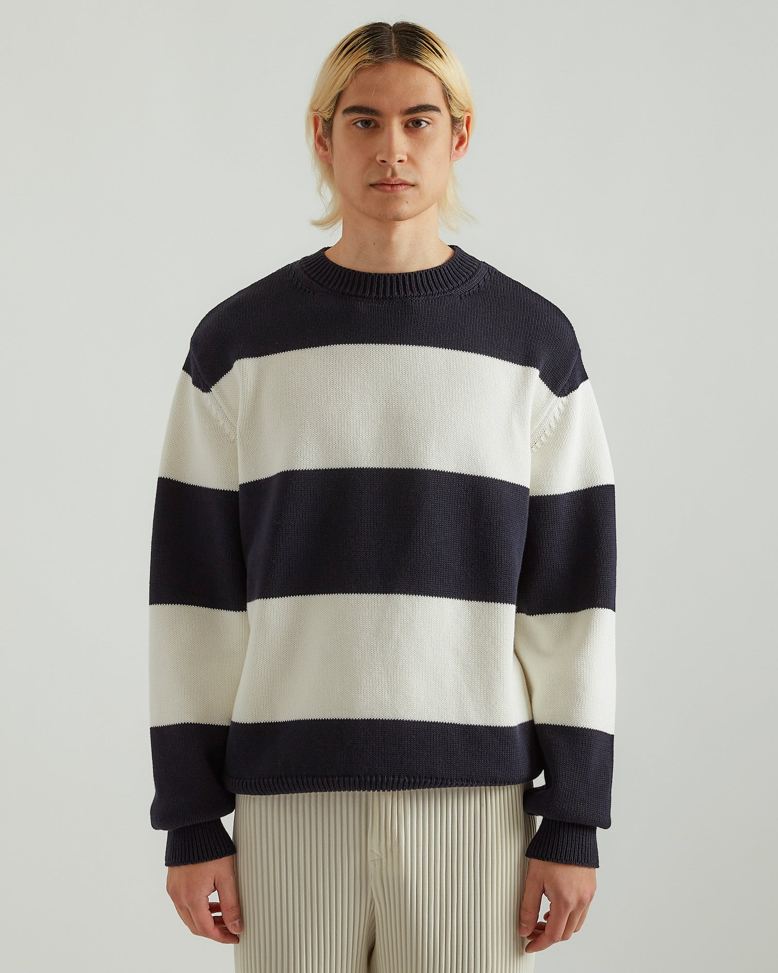 Nameday Sweater in Navy/Off White