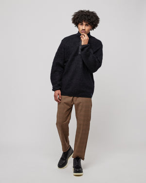 Wool Pullover Sweater in Dark Navy
