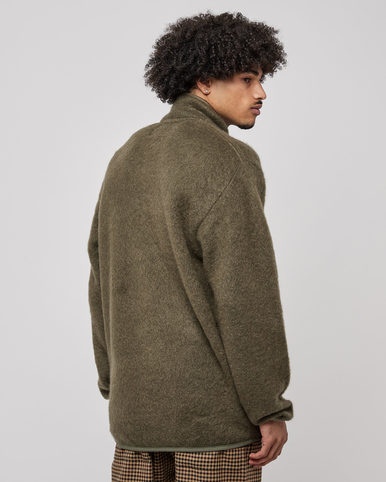 Wool Pullover Sweater in Olive