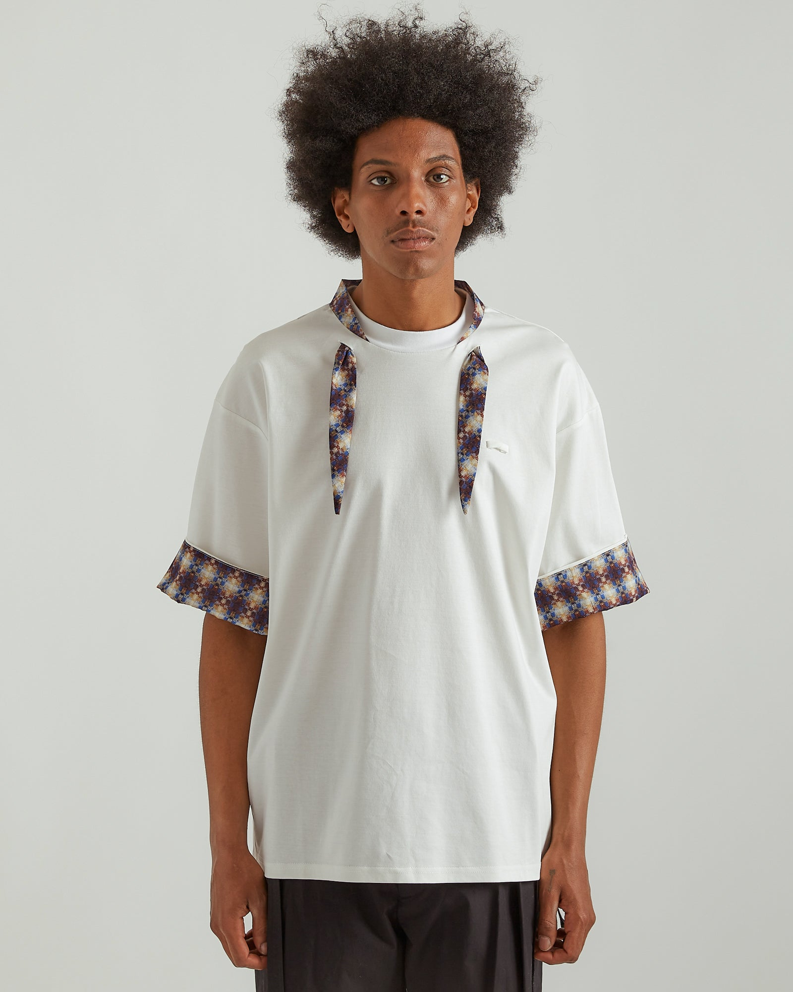 Neck Scarf T-Shirt in White