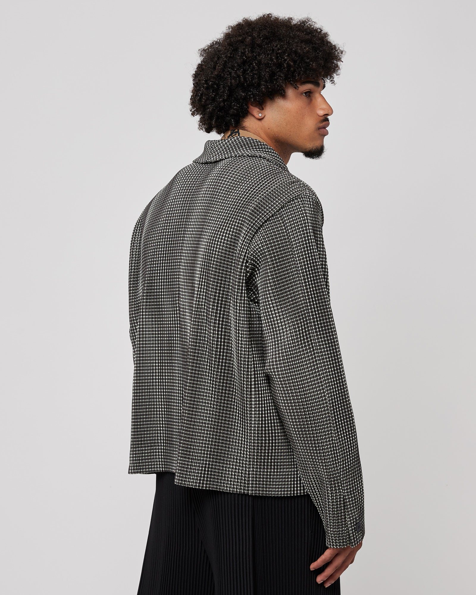 Notched Lapel Jacket in Gray Check