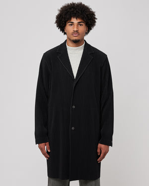 Notched Lapel Long Jacket in Black