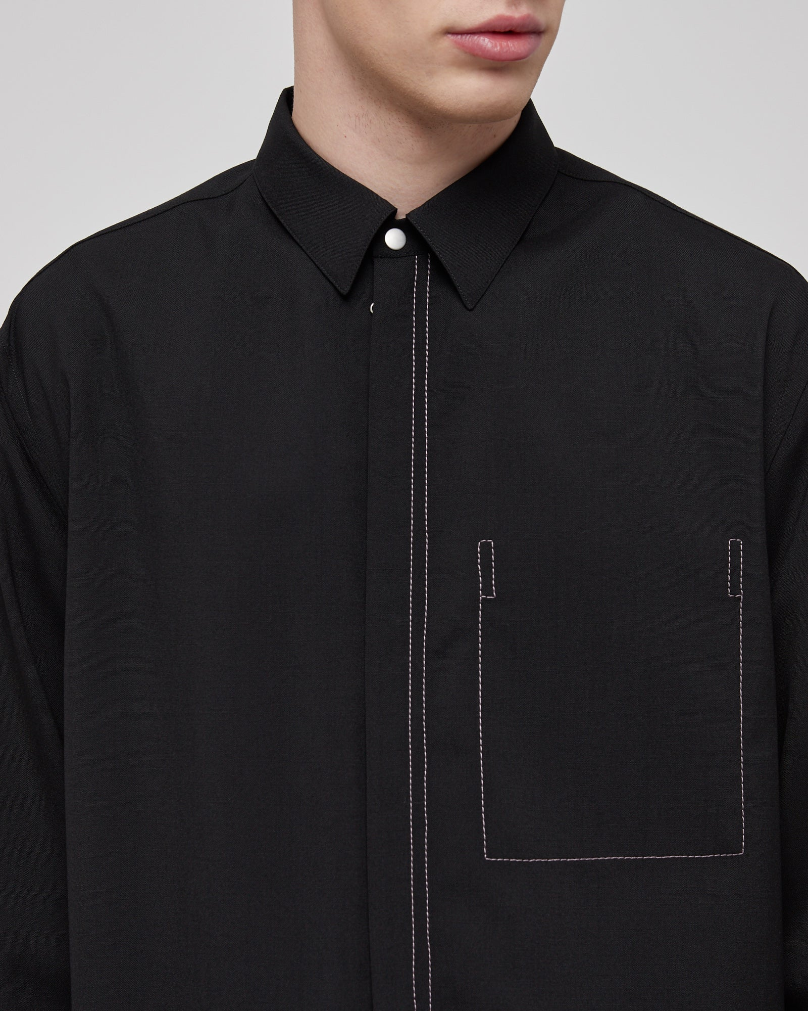 Ian Wool Shirt In Black