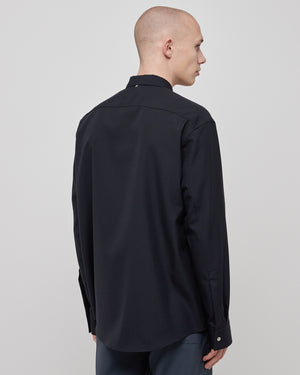 Ian Wool Shirt In Navy