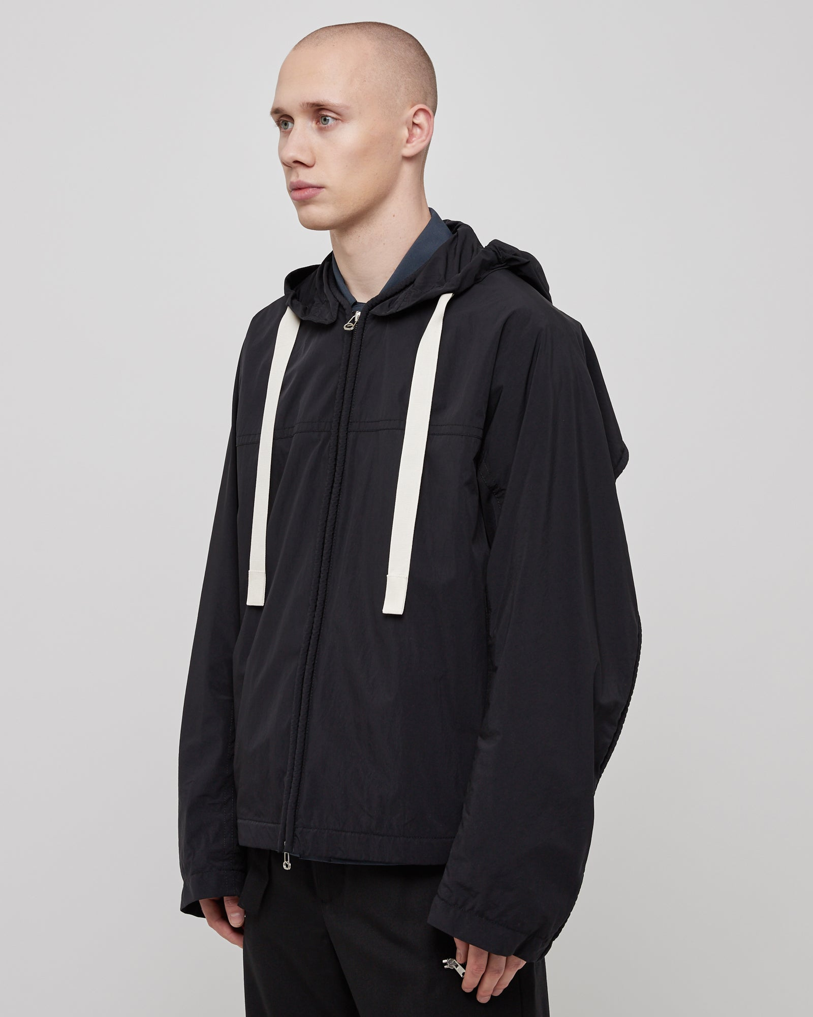 Nylon Corded Windbreaker in Black