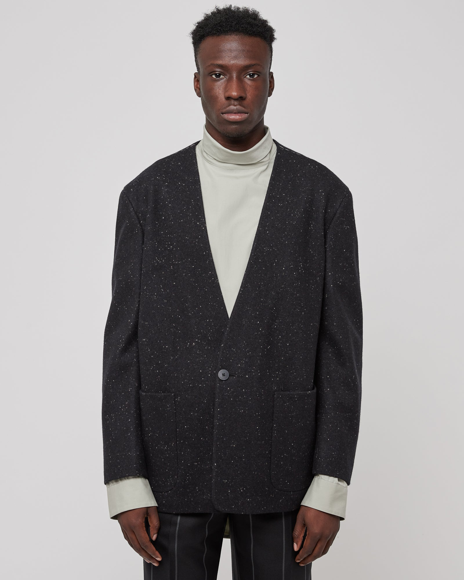 One Button Wool Jacket in Matte Black