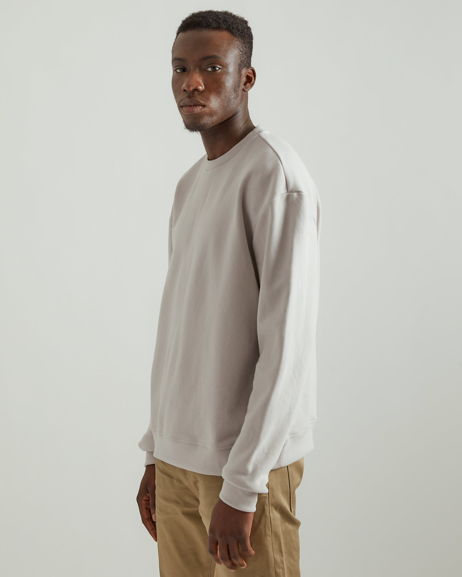 Oversized Crewneck Pullover in Moon Gray