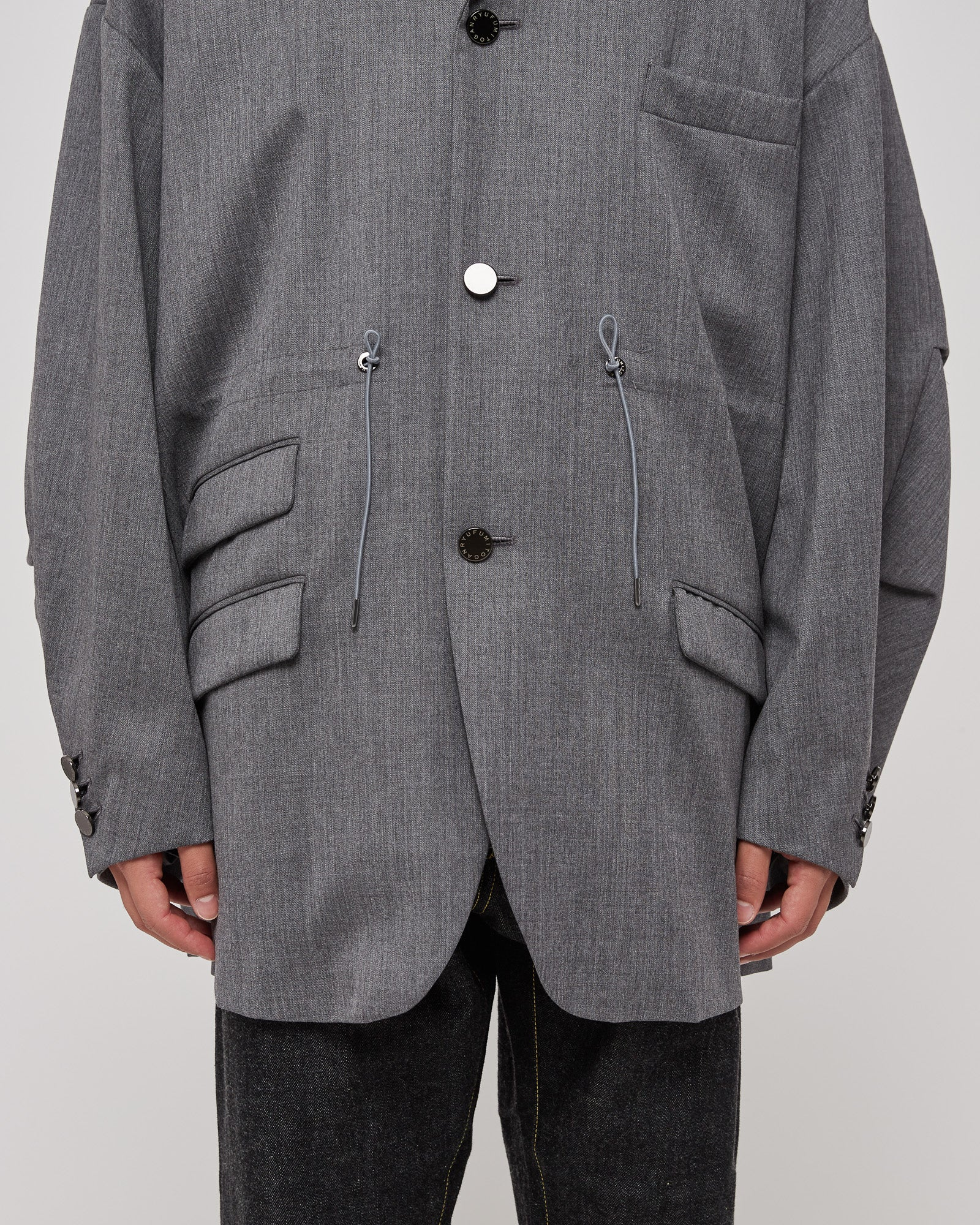 Oversized Drawcord Blazer in Gray