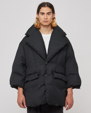 Oversized Lapelled Puffer in Black