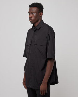 Oversized Short Sleeve Shirt in Matte Black