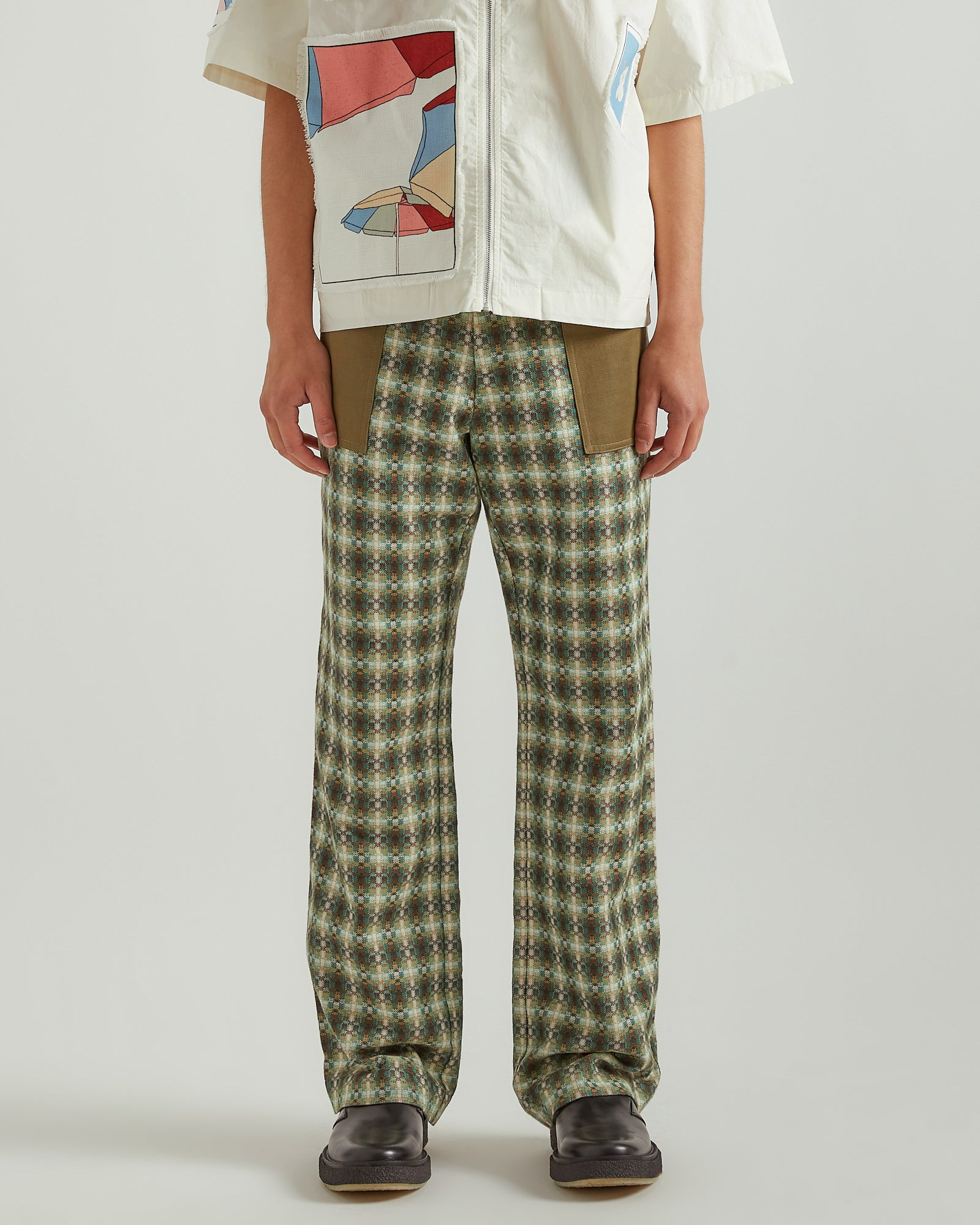 Patchwork Pants in Green Plaid