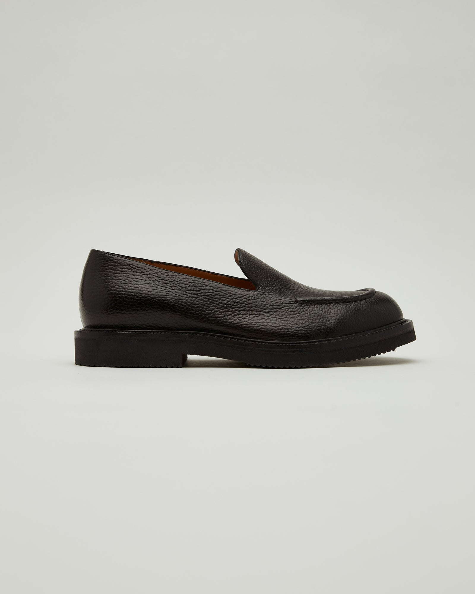 Pebble Grained Leather Loafers in Black
