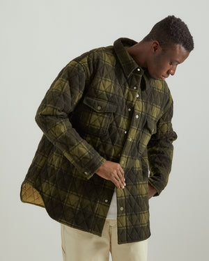 Plaid Blanket Shirt Jacket in Green