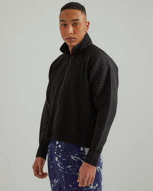 Pleated Blouson Jacket in Black